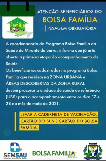 Pesagem obrigatória dos Beneficiários do Programa Bolsa Família!
